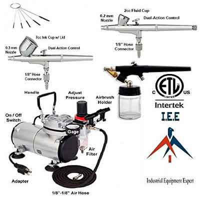 New 3 AIRBRUSH & COMPRESSOR KIT Dual-Action AIR BRUSH SPRAY SET Tattoo Nail Art
