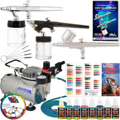 Master Airbrush KIT-SP19-20 Art Airbrushing System Paint Kit with Standard Compressor
