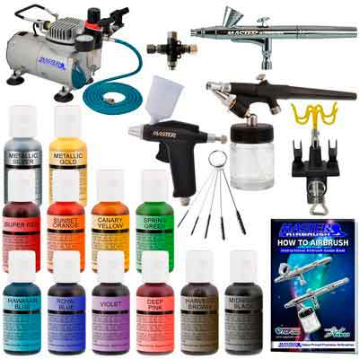 Master Pro Airbrush Cake Decorating Set with 12 Chefmaster Airbrush Cake color set that are FDA approved - 3 Airbrush Kit  TC20 Compressor - Air Filter/Regulator