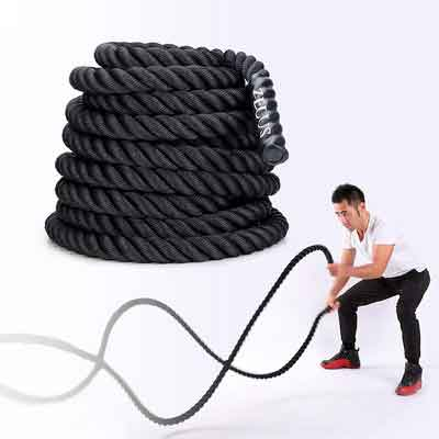 ZELUS Battle Ropes 1.5/2in Diameter Pure Poly Dacron 30/40/50ft Length Fitness Undulation Ropes for Strength and Conditioning Workouts