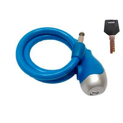 3FT Blue Cable Key Lock Heavy Duty Reinforced Multi-strand Cable with Tough Vinyl-Coating
