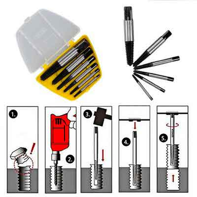 L-TMS Damaged Spiral Flute Screw/Bolt/Stud Extractor Remover Set