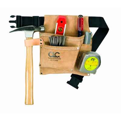 CLC Custom Leathercraft IP489X 3 Pocket Suede Tool belt Poly Web Belt three large pockets with hammer loop and tape clip