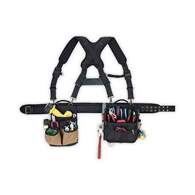 CLC Custom Leathercraft 1608 Electrician's Comfort Lift Combo Tool Belt with Back Support Belt with Suspenders