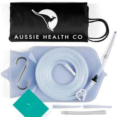 Aussie Health Co Non-Toxic Silicone Enema Bag Kit. 2 Quart. BPA & Phthalates Free. For At...