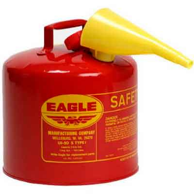 Eagle UI-50-FS Red Galvanized Steel Type I Gasoline Safety Can with Funnel