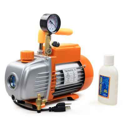 BACOENG 3.6 CFM 110V 1/4HP Single Stage Rotary Vane Vacuum Pump HVAC With Gauge