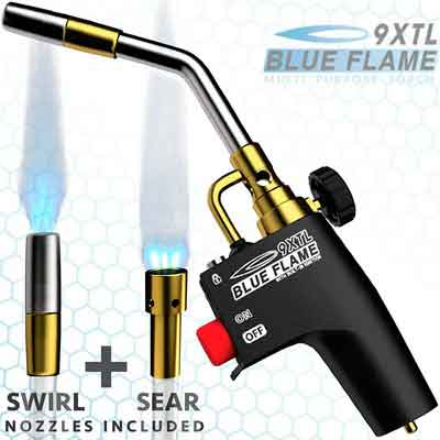 BLUE FLAME 9XTL - Multi-Purpose Mapp & Propane Torch | Built-In Ignition | Flow Regulator with Two Torch Tips