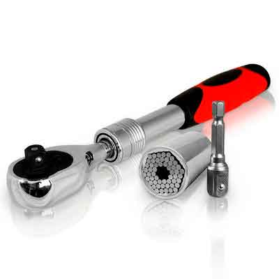 Universal Socket Tool With Extendable Ratchet Wrench: Endeavor Tool That Instantly Adjusts To All Shapes And Sizes Of Bolts
