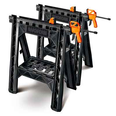 WORX Clamping Sawhorse Pair with Bar Clamps