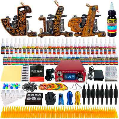 Solong Tattoo Complete Beginner Tattoo Kit 3 Pro Machine Guns 54 Inks Power Supply Needle Grips...