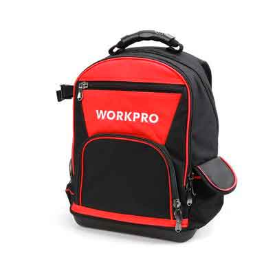 WORKPRO 40-pocket Jobsite Tool Backpack Bag with Water Proof Molded Base