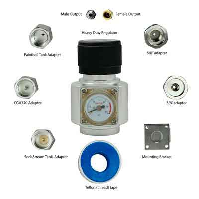 Ultimate CO2 Regulator works with 5 types of CO2 tanks