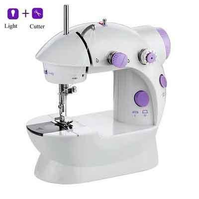 Alisaouse Mini Electric Sewing Machine with Light & Cutter Double Thread 2 Speed Adjustment for Household