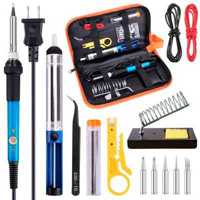 Soldering Iron Kit Electronics 60W Adjustable Temperature Welding Soldering Gun