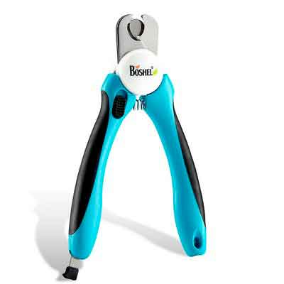 Dog Nail Clippers and Trimmer By Boshel - With Safety Guard to Avoid Over-cutting Nails & Free Nail File - Razor Sharp Blades - Sturdy Non Slip Handles - For Safe
