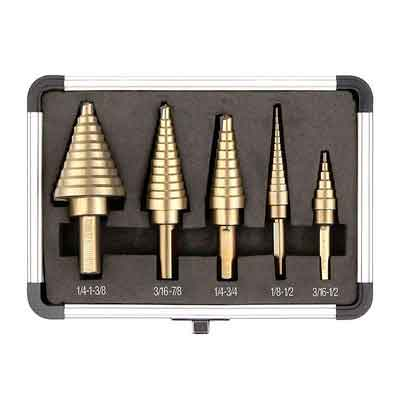 DEKOPRO 5pcs/Set HSS Cobalt Multiple Hole 50 Sizes Step Drill Bit Set with Aluminum Case