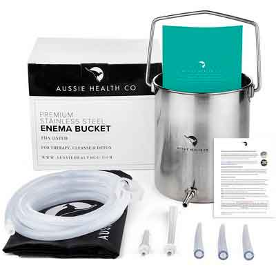 Aussie Health Co Non-Toxic Stainless Steel Enema Bucket Kit. 2 Quart