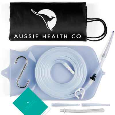 Aussie Health Co Non-Toxic Silicone Enema Bag Kit. 2 Quart. BPA & Phthalates Free. For At...