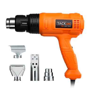 Tacklife HGP70AC Heave Duty Heat Gun 1500w 122℉~ 1022℉(50℃- 550℃)with Three-Temperature Settings Four Nozzle Attachments for Stripping Paint