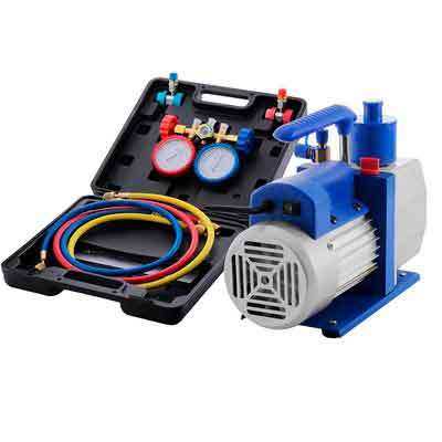 VEVOR Vacuum Pump Kit HVAC Single Stage AC Vacuum Pump 4.8CFM 1/3HP Air Vacuum Pump with 4 Valve A/C Manifold Gauge Set Refrigerant Air Conditioning