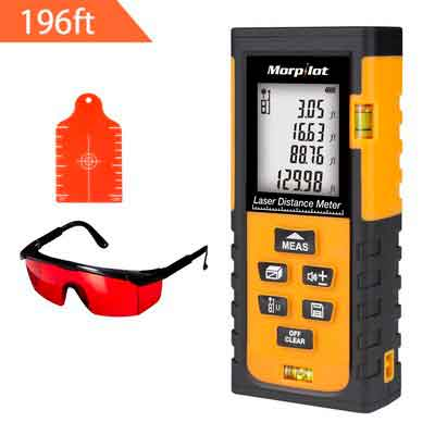 Laser Measure - Morpilot 196ft Laser Tape Measure Depth Gauges with Target Plate & Enhancing Glasses