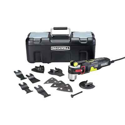 Rockwell RK5151K 4.2 Amp Sonicrafter F80 Oscillating Multi-Tool with Duotech Oscillation Angle Technology. 12 Piece Kit includes 10 Accessories