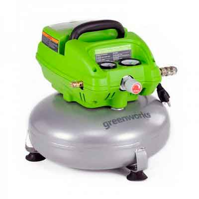 Greenworks 4101502 3 Gal. 1/3 HP Electric Pancake Air Compressor