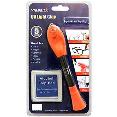 Visbella UQ0004CR5P UV Light Glue Liquid Plastic Welder Adhesive with Alcohol Pad Fill