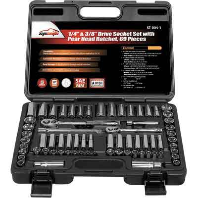 "69 Pieces - EPAuto 1/4"" & 3/8"" Drive Socket Set with Pear Head Ratchet"