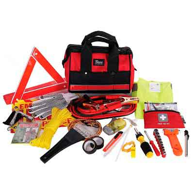 Thrive Roadside Assistance Auto Emergency Kit + First Aid Kit  Rugged Tool Bag - Contains Jumper Cables