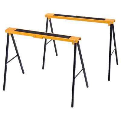 Goplus 2 Pack Sawhorse Pair Heavy Duty Steel Folding Legs Portable Saw Horse Twin Pack