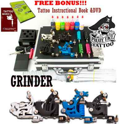 GRINDER Tattoo Kit by Pirate Face Tattoo / 4 Tattoo Machine Guns - Power Supply / 7 Ink by...