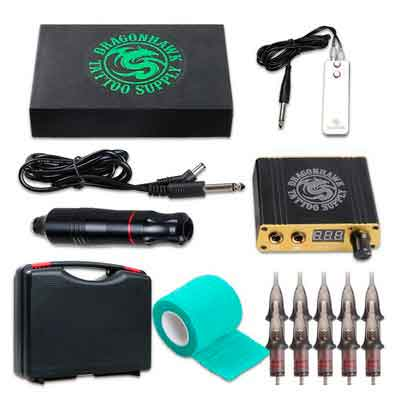 Dragonhawk Cartridge Tattoo Machine Kit Pen Rotary Tattoo Machine Cartridge Needles Power...