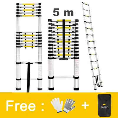 Finether 16.4ft Aluminum Telescopic Extension Ladder | Multi-purpose Telescoping Ladder