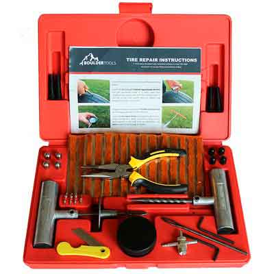 Boulder Tools - 56 Pc Heavy Duty Tire Repair Kit For Car