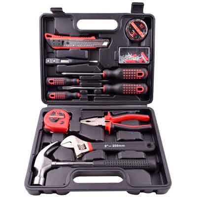 13 Pieces Home Repair Household Tool Set Tools Kit Storage Plastic Toolbox